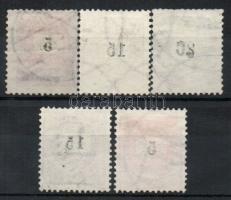 1889 5db bélyeg az értékszámok gépszínátnyomatával