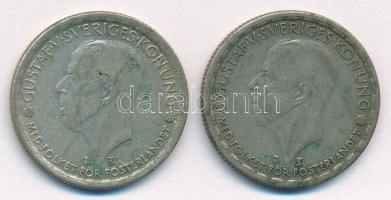 Svédország 1946TS-1950TS 1K Ag (2xklf) V. Gusztáv T:2-,3 patina Sweden 1946TS-1950TS 1 Krona Ag (2xdiff) Gustaf V. C:VF,F patina Krause KM#814