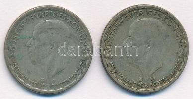 Svédország 1943G-1949TS 1K Ag (2xklf) V. Gusztáv T:2-,3 patina Sweden 1943G-1949TS 1 Krona Ag (2xdiff) Gustaf V. C:VF, F patina Krause KM#814