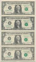 Amerikai Egyesült Államok 1999-2001. (1999) 1$ Federal Reserve Note Mary Ellen Withrow - Lawrence H. Summers (4x) mind klf sorozatjellel T:III  USA 1999-2001. (1999) 1 Dollar Federal Reserve Note Mary Ellen Withrow - Lawrence H. Summers (4x) all with differen serial prefixes C:F