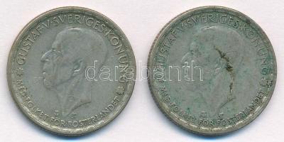 Svédország 1946TS-1949TS 1K Ag (2xklf) V. Gusztáv T:3 patina Sweden 1946TS-1949TS 1 Krona Ag (2xdiff) Gustaf V. C:F patina Krause KM#814