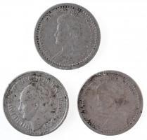 Hollandia 1919-1936. 10c Ag (3x) T:2,2- Netherlands 1919-1936. 10 Cents Ag (3x) C:XF,VF