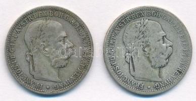 Ausztria 1893. 1K Ag Ferenc József (2x) T:2- Austria 1893. 1 Corona Ag Franz Joseph (2x) C:VF