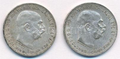 Ausztria 1912-1915. 1K Ag Ferenc József (2xklf) T:1-,2 Austria 1912-1915. 1 Corona Ag Franz Joseph (2xdiff) C:AU,XF  Krause KM#2820