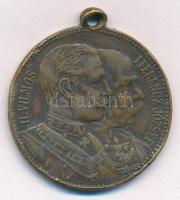 1897. II. Vilmos látogatása Budapesten fém emlékérem füllel II. VILMOS - I. FERENCZ JÓZSEF / EMLÉK II-ik VILMÓS NÉMET CSÁSZÁR Ő FELSÉGÉNEK BUDAPESTEN LÉTÉRŐL 1897 ÉVI SZEPTEMBER HÓ 20. (29mm) T:2  Austro-Hungarian Monarchy 1897. Wilhelm II - Franz Joseph / In commemoration of Wilhelm IIs visit in Budapest Br medallion with ear (29mm) C:XF