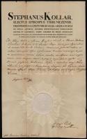 1834 Kollár István (1764-1844) püspök, királyi tanácsos aláírt latin nyelvű levele, fejléces papíron, papírfelzetes viaszpecséttel
