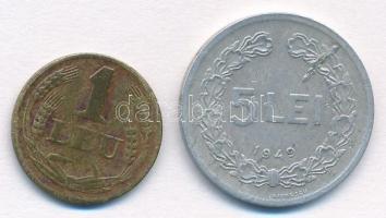 Románia 1947. 1L sárgaréz + 1949. 5L Al T:3 Romania 1947. 1 Leu Brass + 1949. 5 Leii Al C:F Krause KM#73, KM#77