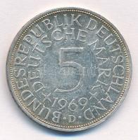 NSZK 1969D 5M Ag T:2  FRG 1969D 5 Mark Ag C:XF Krause KM#112.1