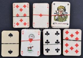 Régi tarokk és francia kártyák vegyesen, hiányos paklik, közte kártyabélyeges is