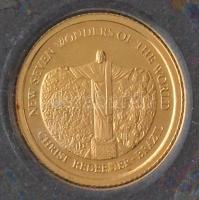 Salamon-szigetek 2011. 5$ Au A világ hét új csodája - Megváltó Krisztus szobor tanúsítvánnyal (0,5g/585/11mm) T:PP Solomon Islands 2011. 5 Dollars Au New Seven Wonders of the World - Christ Redeemer - Brazil with certificate (0,5g/585/11mm) C:PP