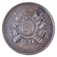 DN 1848-49 Hazádnak rendületlenűl légy híve, ok magyar ezüstözött? fém emlékérem tokban (42mm) T:2