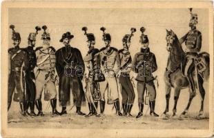 Magyar Hadseregképek. Lovasság, balról jobbra: Székely, Károlyi, Nádor, Hunyadi, Mátyás, Bocskay, Attila, Lehel, Miklós. Komlós Negyvennyolc Sorozat I. 9. / Hungarian military cavalry uniforms. Hungarian Revolution of 1848 (EK)