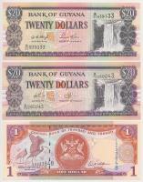 Vegyes: Guyana 1996. 20$ (2x) + Trinidad és Tobago 2006. 1$ T:I Mixed: Guyana 1996. 20 Dollars (2x) + Trinidad and Tobago 2006. 1 Dollar C:UNC