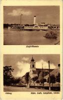 1941 Adony, Hajóállomás a TULLN (ex Josef Carl) lapátkerekes gőzhajóval, Római katolikus templom és iskola. Kiadja Rabóczky András (EK)