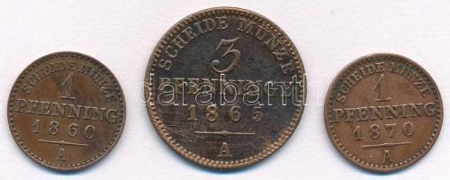 Német Államok / Poroszország 1860A 1pf Cu + 1865A 3pf Cu + 1870A 1pf Cu T:1-,2 German States / Prussia 1860A 1 Pfennig Cu + 1865A 3 Pfennig Cu + 1870A 1 Pfennig Cu C:AU,XF