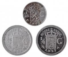Holland Kelet-India 1917. 1/4G Ag + 1921. 1/4G Ag + 1942S 1/10G Ag T:2- patina Netherlands East Indies 1917. 1/4 Gulden Ag + 1921. 1/4 Gulden Ag + 1942S 1/10 Gulden Ag C:VF patina