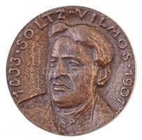 1967. Soltz Vilmos 1833-1901 / Országos Magyar Bányászati és Kohászati Egyesület Br emlékérem, hátoldalon gravírozva (68mm) T:2