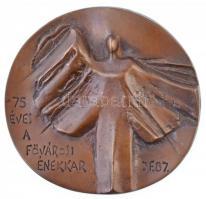 1987. 75 éves a Fővárosi Énekkar kétoldalas Br plakett, hátlapon gravírozva. Szign.: JF (~127mm) T:2