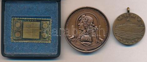 3db-os vegyes magyar emlékérem tétel, közte 1984. Naptár bélyegérem sérült ÁPV tokban (38x23mm) T:1-,2