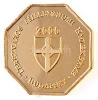 2000. Terézváros Millenniumi Emlékérme - Budapest aranyozott, nyolcszögletű, kétoldalas emlékérem (39mm) T:1