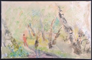 Antal Irén (1903-1999): Galyatető, akvarell, papír, jelzett, 33×50 cm