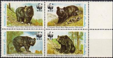 WWF bears margin block of 4, WWF Medvék ívszéli négyestömb, WWF Kragenbär Viererblock mit Rand