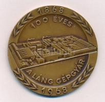 1968. 100 éves a Láng Gépgyár Br plakett műanyag alapon, eredeti dísztokban (60mm) T:2