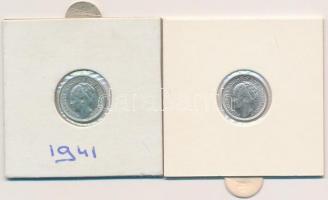 Hollandia 1941-1944S. 10c Ag (2x) I. Vilma T:1,2 Netherlands 1941-1944S. 10 Cents Ag (2x) Wilhelmina I C:UNC, XF Krause KM#163