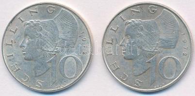Ausztria 1972. 10Sch Ag (2x) T:-1 Austria 1972. 10 Schilling Ag (2x) C:AU