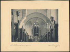 1930 Orphanidesz János (1876-1939): Kőröshegy, a templom kívül, belül, 2 db fotóművészeti alkotás aláírva, feliratozva, művészfólián keresztül másolva, 24x18 cm + 1930 Orphanidesz János (1876-1939): Köröshegyi templom, vintage fotó, művészfólián keresztül másolva, aláírt; képméret 16x11 cm, papírméret 18x24 cm