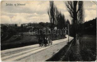 1906 Szliács, Sliac; Szliácsra felmenet, lovasszekér / road to Sliac, horse cart (EK)