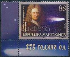 Edmond Halley, astronomer corner stamp, Edmond Halley, csillagász ívsarki bélyeg