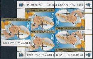 1996 II. János Pál pápa bélyeg + kisív, Pope John Paul II stamp + minisheet Mi 76