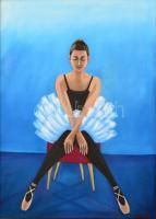 Balog Marianna (1967-): Az X. Olaj, vászon, jelzett, keretben, 50×70 cm