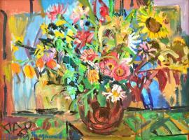 Uhrig Zsigmond (1919-1993): Csendélet, olaj, vászon, jelzett, fa keretben, 60×80 cm