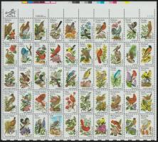 Birds and plants, 50 states mini sheet, Madarak és növények, az 50 állam kisív