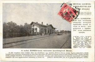 1907 Moha, Ágnes-forrástelep, Vasútállomás, hajtány. Ágnes gyógy- és ásványvíz reklám Josch Ágoston jub. cs. k. gyógytár igazgató ajánlásával (r)