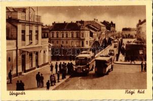 Ungvár, Uzshorod, Uzhorod; Régi híd, autóbusz, automobil / old bridge, autobus, automobile