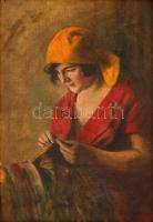 Glatter Ármin (1861-1931): Sárga fejkendős varró lány. Olaj, vászon, jelzett, sérült keretben, 52×35 cm