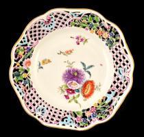 cca 1900 Herendi mezei virág mintás áttört tányér, kézzel festett, jelzett, alján apró hajszál repedéssel, kopásnyomokkal, d: 23 cm