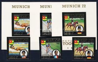 1973 A Müncheni olimpia érmesei vágott aranyfóliás kiadás Mi 962-964 + blokk 70-72