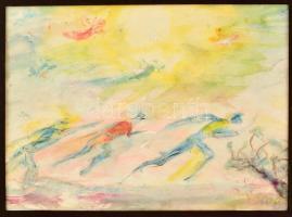 Antal Irén (1903-1999): Síelők, akvarell, papír, jelzett, paszpartuban, 32,5×44 cm