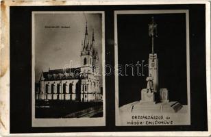 1943 Ditró, Gyergyóditró, Ditrau; Római katolikus templom, Országzászló, Hősök emlékműve / church, Hungarian flag, heroes monument. Foto Klein, photo (fl)