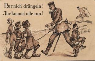 """Military anti-propaganda, """"Nur nich' drängeln! Ihr kommt alle ran! litho"""