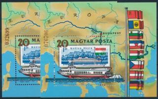 1981 2 db Duna blokk vékony ill. vastag sorszámmal