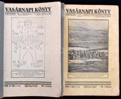 1930 Vasárnapi könyv. 1930. I. és II. félév. Teljes, XX. évfolyam. Papírkötésben, két kötetben, kissé foltos lapokkal, az egyik borító elülső borító javított.