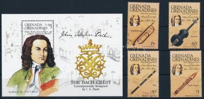 1985 Johann Sebastian Bach sor + blokk, Johann Sebastian Bach set + block Mi 708-711 + Mi 98