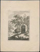 cca 1800 Johann Daniel Heimlich (1740-1796): Pihenők a romnál. Rézmetszet, papír, 14×10,5 cm