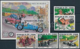 1981 Grand Prix sor + vágott blokk, Grand Prix set + imperforated block Mi 706-710 + Mi 20