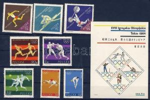 1964 Tokiói Olimpia sor Mi 1514-1521 + blokkok Mi 33-34